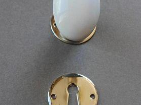 Bouton MODERNE Simple porcelaine blanc S/Ros NB + rosace clé L