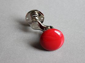MANIVELLE BORDELAISE Bouton Rond Rouge - sur rosace Chrome Brillant
