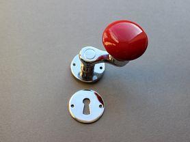 MANIVELLE BORDELAISE Bouton rond rouge s/ros chrome brillant + cle L