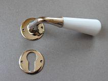Poignée de porte Porcelaine CONE - Blanc Brillant/NB + Ros Clé Cyl