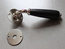 Poignée de porte Porcelaine - Noir mat/Acier Satiné + ros décondamnation