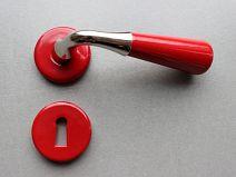 Poignée de porte Porcelaine CONE - Rouge/NB + CLE L