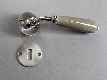 Poignée de porte Porcelaine DUO - Gris poivre/Acier Satiné + CLE L