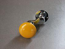 MANIVELLE BORDELAISE Bouton rond jaune - sur rosace chrome brillant