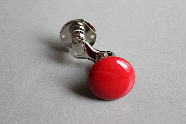 MANIVELLE BORDELAISE Bouton Rond Rouge - sur rosace Nickel Brillant